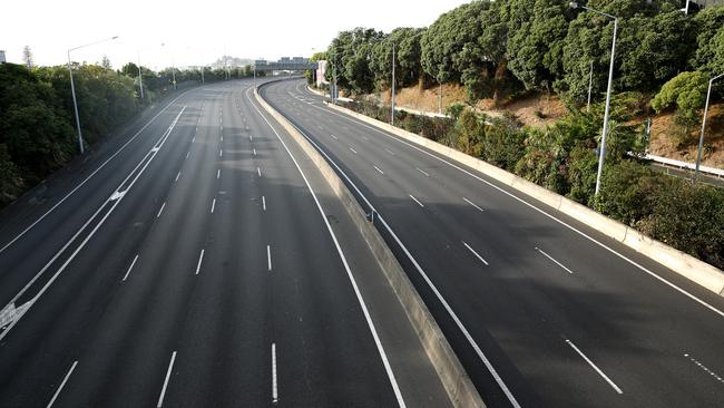 Auckland's motorways were completely empty as the lockdown took effect. Picture: Phil Walter/Getty Images