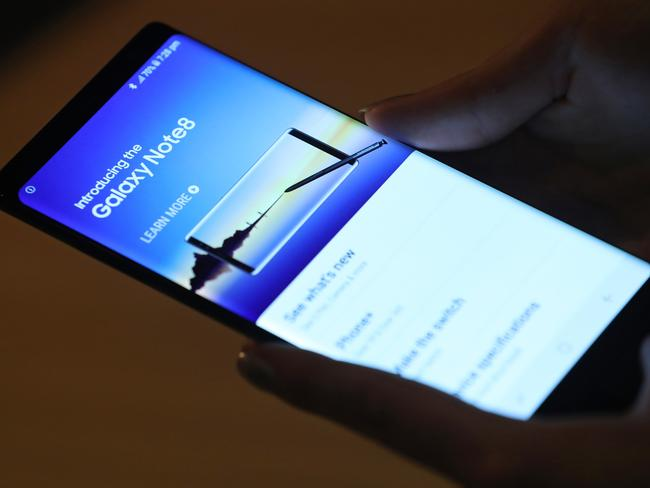 The new device is tipped to look very similar to the Galaxy Note 8 smartphone launched last year. Picture: Sean Gallup
