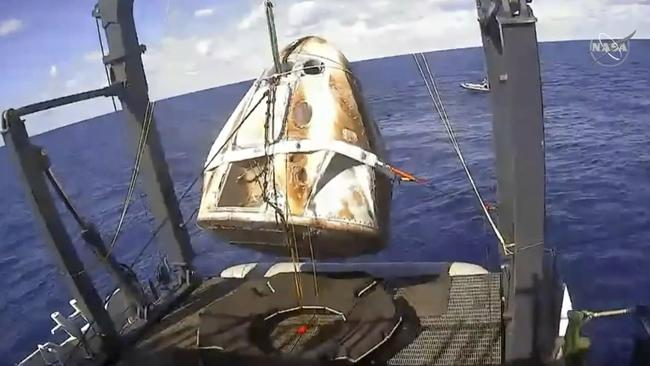 The SpaceX Crew Dragon capsule is hoisted onto a ship in the Atlantic Ocean off the Florida coast after it returned from a mission to the International Space Station. SpaceX said that their Dragon capsule for astronauts, which flew without a crew to the International Space Station last month, was destroyed during a ground test on April 20, 2019, in Cape Canaveral, Fla.