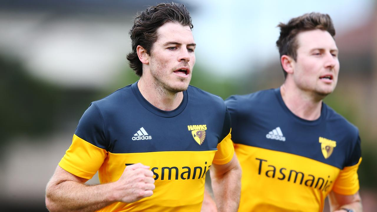Isaac Smith and Liam Shiels during a running session this pre-season.