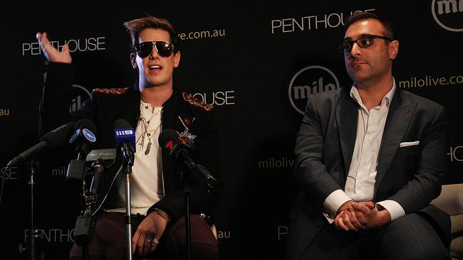Milo Yiannopoulos speaks alongside Penthouse publisher Damien Costas during a press conference on November 29, 2017 in Sydney. Picture: Lisa Maree Williams/Getty Images