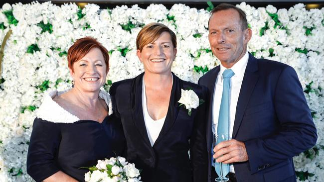 """Still family: Virginia, Christine and Tony at the wedding. Picture: Supplied"