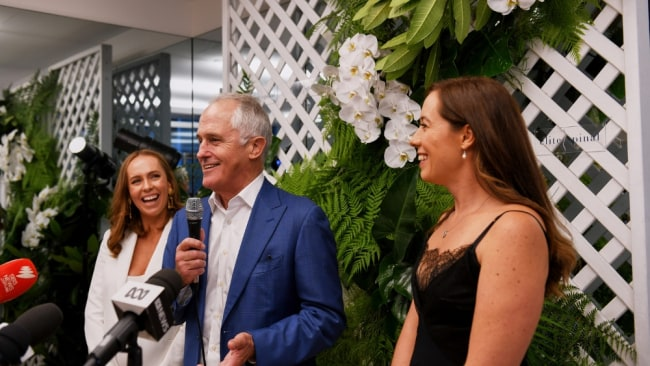 The former PM with owners Brigitte Seelin and Elisha Renton. Image: Supplied