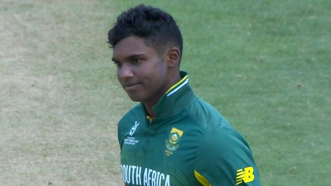 South Africa's Jiveshan Pillay has been given out 'obstructing the field' at the Under-19 World Cup.