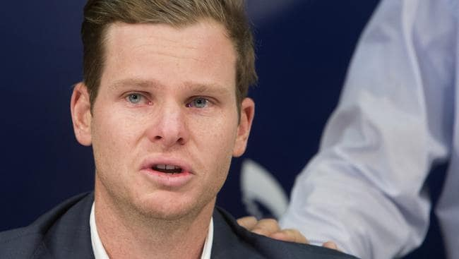 A teary Steve Smith faced the media this week after being sent home from South Africa. Picture: Steve Christo/AP