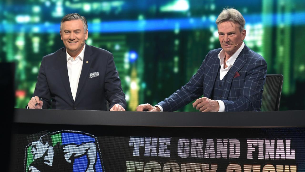 Eddie McGuire and Sam Newman at the Grand Final Footy Show 2018. Photo: Channel 9