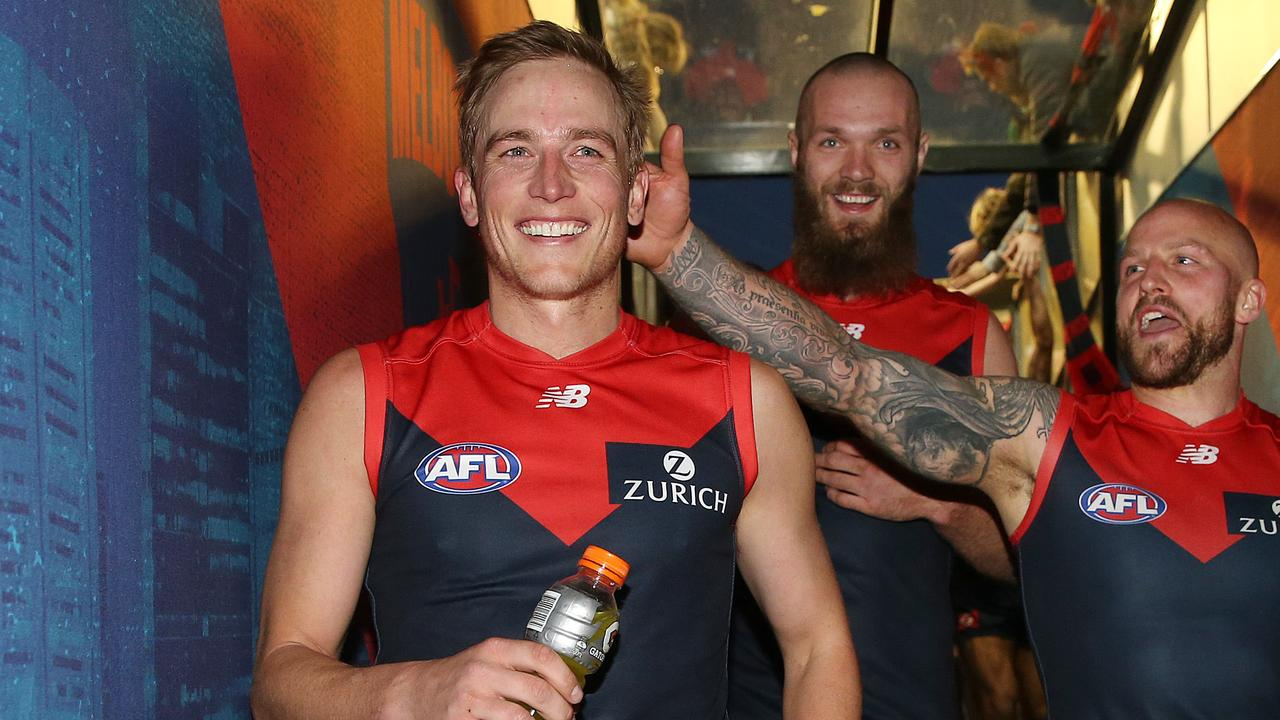 Bernie Vince, Nathan Jones and Max Gawn. Picture: Michael Klein