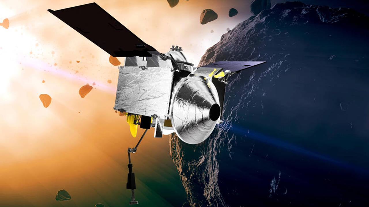 An artist's drawing of OSIRIS-REx nearing Bennu.