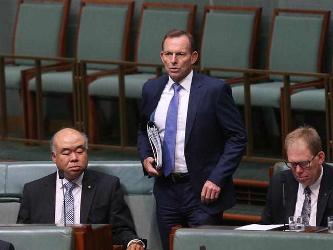 Former Prime Minister Tony Abbott has accused Defence Industry Minister Christopher Pyne of being disloyal. Picture: Kym Smith