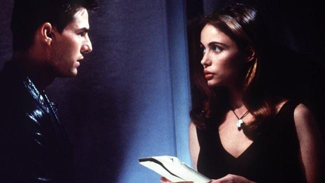 Tom Cruise and Emmanuelle Beart in 1996 film Mission Impossible. Picture: Supplied
