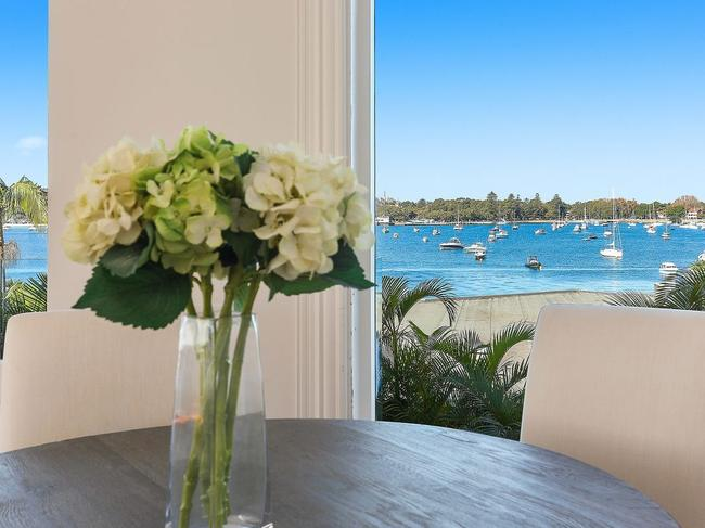 1/39 Wunulla Rd, Point Piper has beautiful views from the dining room (above) and the balcony (below).