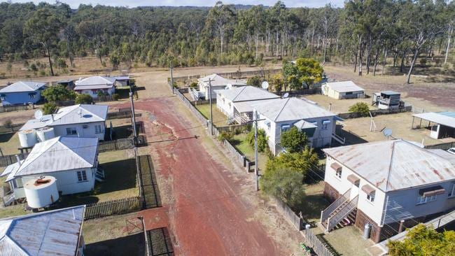 Aerial view over the houses of Allies Creek. Picture: Lachie Millard