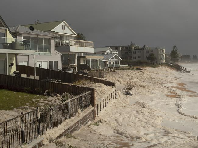 Beach erosion is seen at Collaroy on the Northern Beaches as a high tide and large waves impact the coast. Picture: Brook Mitchell/Getty Images