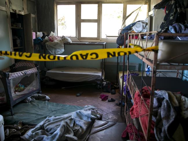 Police tape marks an empty room inside the Orphanage of the Church of Bible Understanding. Picture: Dieu Nalio Chery