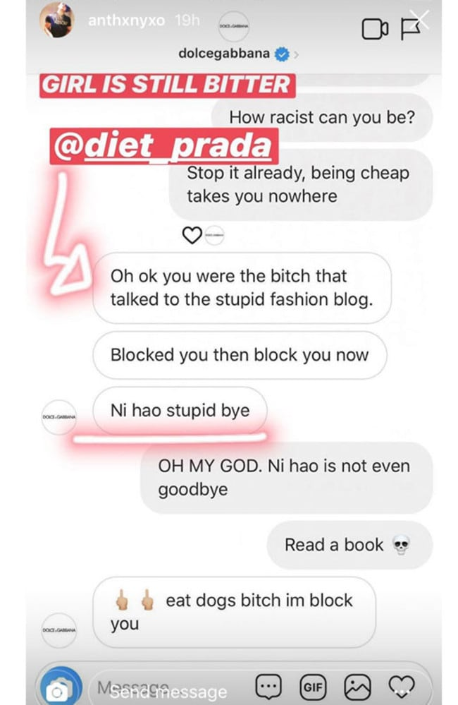 Instagram user @anthxnyxo posted more screenshots of alleged messages with the official Dolce and Gabbana Instagram account.
