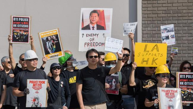 Members of the US Hong Kong community protest against what they say is police brutality against demonstrators during the ongoing Hong Kong protests, in Santa Monica, California on August 17, 2019. Picture: Mark Ralston / AFP