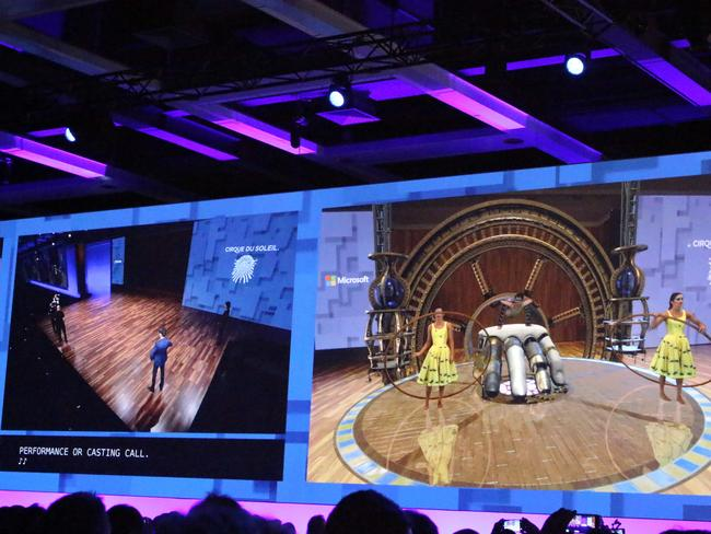 Members of Cirque Du Soleil at Microsoft's developers conference show how they plan to use HoloLens augmented reality gear to design new performances. Picture: Glenn Chapman