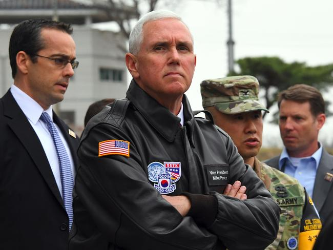 Mr Pence visits the truce village of Panmunjom in the Demilitarised Zone (DMZ) on the border between North and South Korea yesterday in a show of US resolve hours after North Korea failed in its attempt to test another missile. Picture: Jung Yeon-je