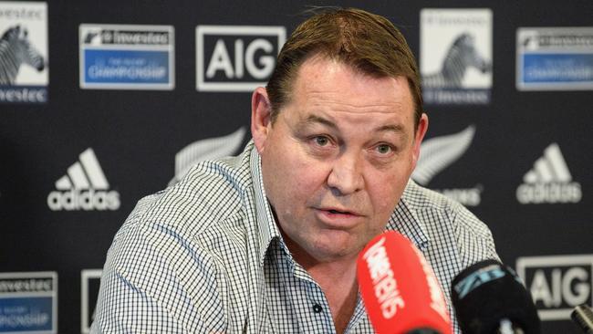 All Blacks coach Steve Hansen talks to reporters in Christchurch.