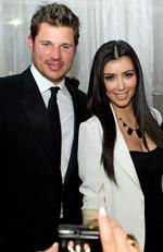 Nick Lachey and Kim Kardashian A few months after his very public breakup with Jessica Simpson in late 2005, Nick Lachey started seeing then no-name, Kim Kardashian. The romance only lasted a few months. Nick moved on to his current fiance, Vanessa Minnillo, while Kim began seeing Ray J, and we all know where that led… Picture: Getty Images