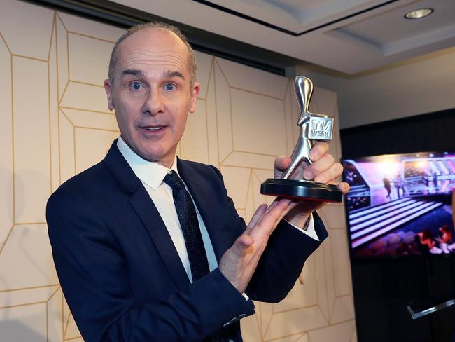 Tom Gleisner with his Logie award. Picture: MEGA