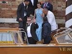 Actors Matt Damon and Emily Blunt board a taxi boat at the Cipriani hotel on September 27, 2014 in Venice where George Clooney and British fiancee, Amal Alamuddin celebrate their wedding. Picture: AFP