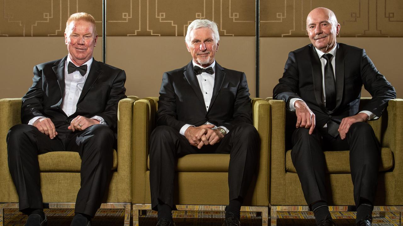AFL Hall of Fame inductees Brad Hardie, Mick Malthouse and Ken Hunter. Picture: Jay Town