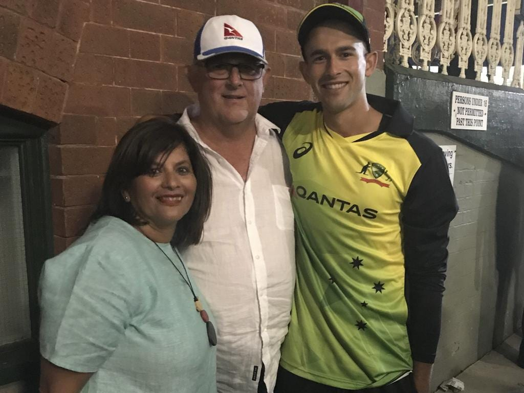 Sonia, John and Ashton after his first Australia match.