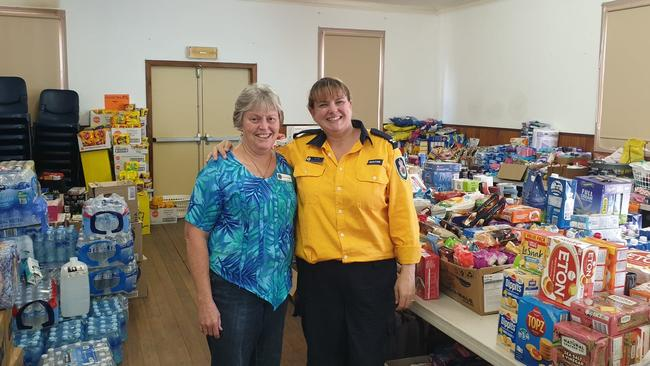 Kerrie O'Grady and Kim Hill have been working day and night to sort through donations.
