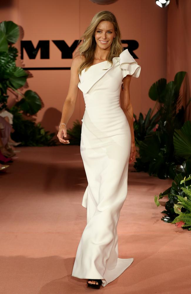 Jennifer Hawkins closes the show in Maticevski. Picture: Toby Zerna