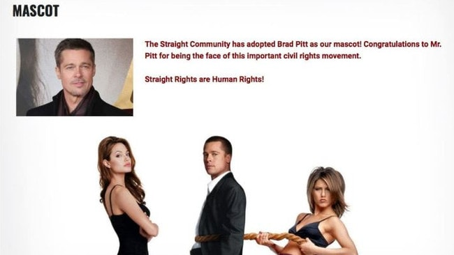 The site formerly used images of Pitt and linked him to the 'straight rights' movement.