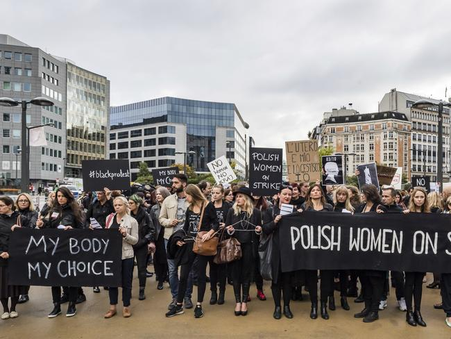 Polish women protest against a legislative proposal for a total ban on abortion in Poland, during a demonstration near EU headquarters in Brussels. Picture: Geert Vanden Wijngaert