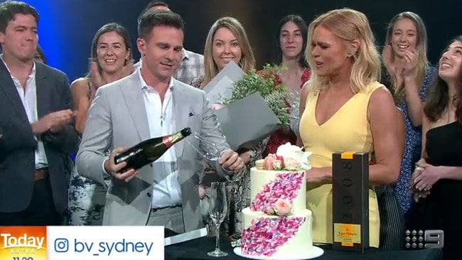 Sonia Kruger's farewell cake looks more indulgent than some wedding cakes we've seen. Picture: Channel 9.