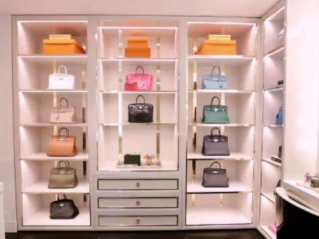 The Sweaty Betty creator's 'glam' room hosts a special display cabinet for her $500k handbag collection. Picture: I am…Roxy