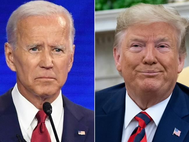 Democratic presidential hopeful Joe Biden and US President Donald Trump. Mr Trump began attacking the Bidens around the time impeachment proceedings began. Picture: AFP
