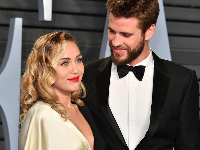 Miley Cyrus and Liam Hemsworth attend the 2018 Vanity Fair Oscar Party. Picture: Getty Images/AFP