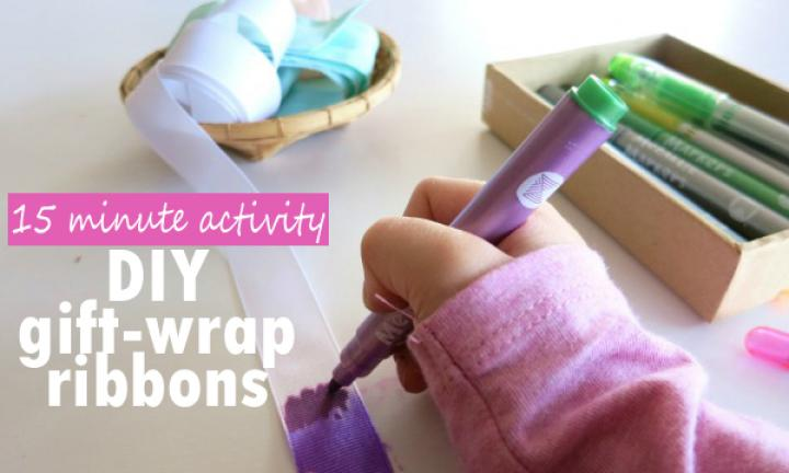 DIY gift-wrap ribbon activity for kids