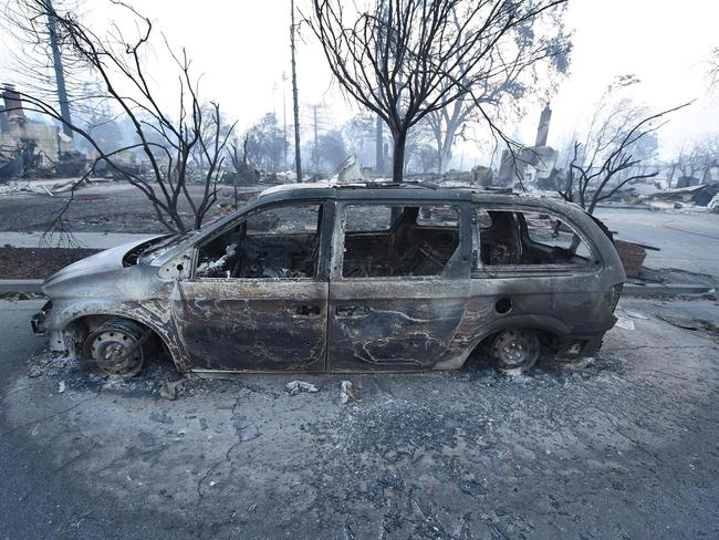 A car destroyed by wildfires in Santa Rosa, California, on October 11, 2017. Picture: AFP / Robyn Beck