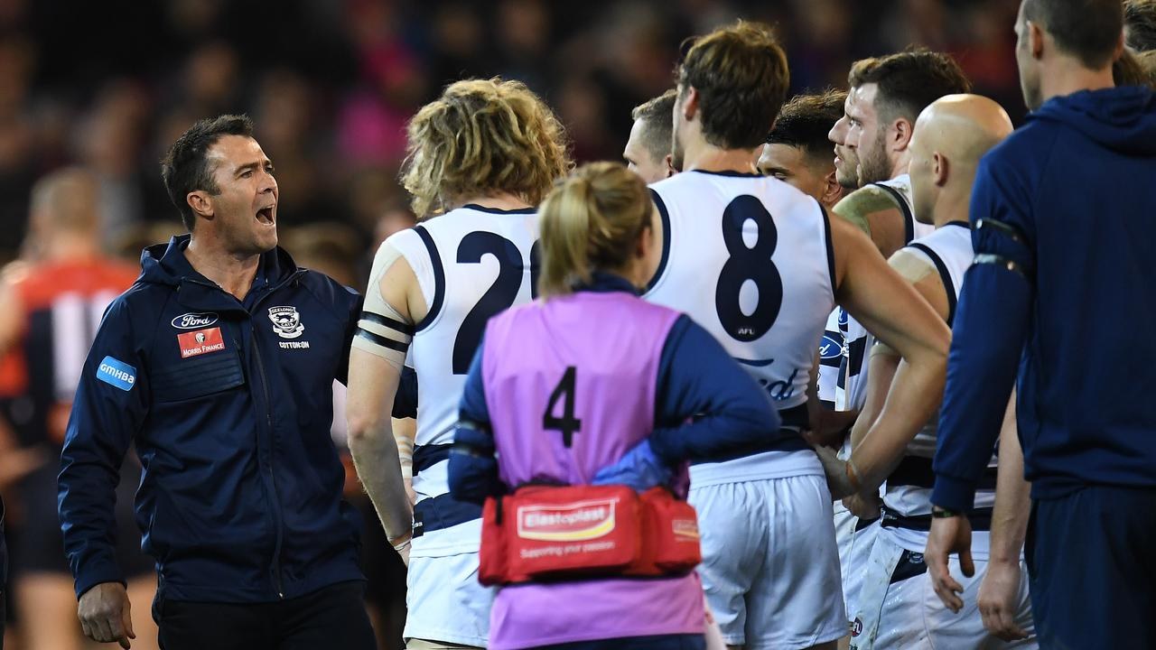 Cats coach Chris Scott lets rip at quarter-time on Friday night.