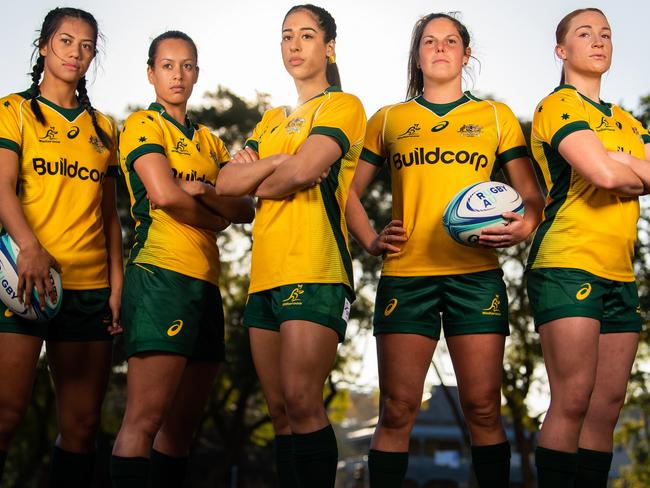 Wallaroos players Atasi Lafai, Mhicca Carter, Crystal Maguire, Emily Chancellor and Georgia O'Neill made their debut this year. Pic: RUGBY.com.au/Stuart Walmsley