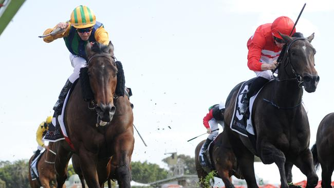 Ball Of Muscle (left) held off Invincible Star to win The Shorts. Picture: AAP