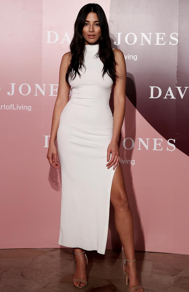 David Jones ambassador Jessica Gomes at the David Jones red carpet, Museum of New and Old Art (Mona), Tasmania. Picture: Luke Bowden