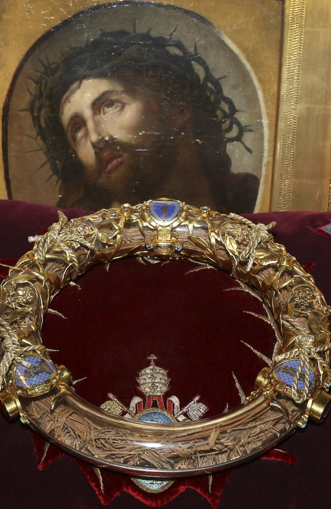 The crown of thorns which was believed to have been worn by Jesus Christ and which was bought by King Louis IX in 1239 at Notre Dame Cathedral in Paris. Picture: Remy de la Mauviniere
