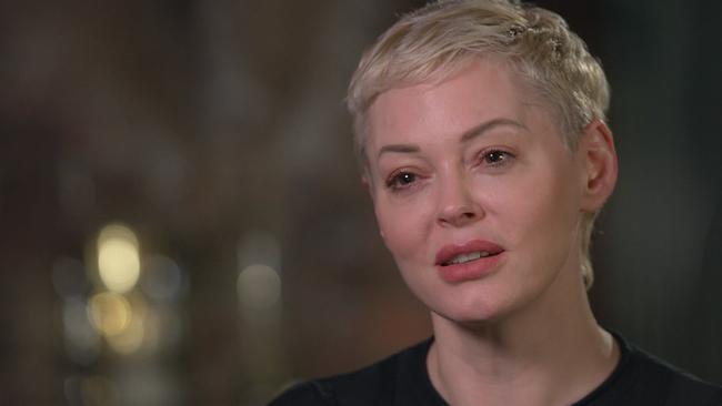 Actress Rose McGowan speaks to 60 Minutes.