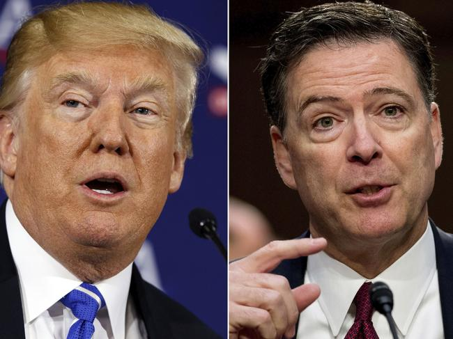 US President Donald Trump and former FBI director James Comey. Picture: AP