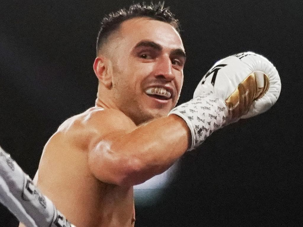 Jason Moloney celebrates his win against Dixon Flores during the Code War Boxing night at Margaret Court Arena in Melbourne, Friday, November 15, 2019. (AAP Image/Michael Dodge) NO ARCHIVING, EDITORIAL USE ONLY