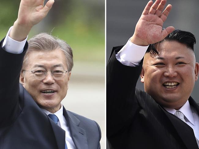 South Korea's new President Moon Jae-in (left) and North Korean dictator Kim Jong-un (right). Picture: AP Photo/Lee Jin-man, Wong Maye-E, Files