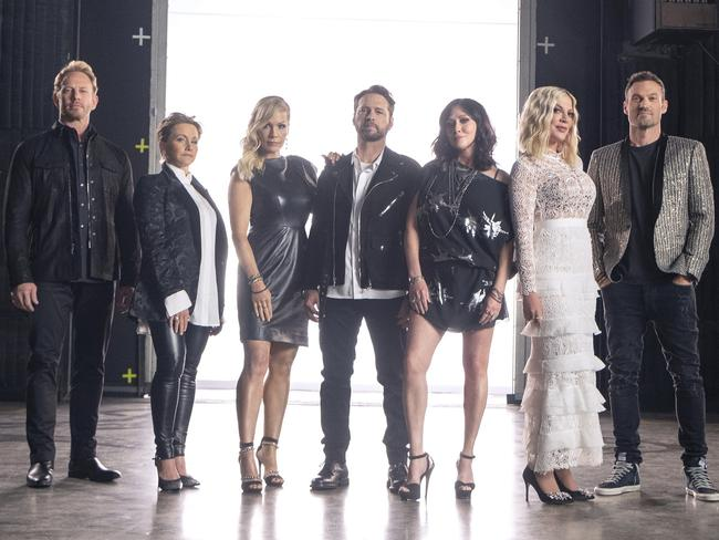 Ian Ziering, Gabrielle Carteris, Jennie Garth, Jason Priestley, Shannen Doherty, Tori Spelling and Brian Austin Green reunite in the TV series BH90210. Picture: Channel 10