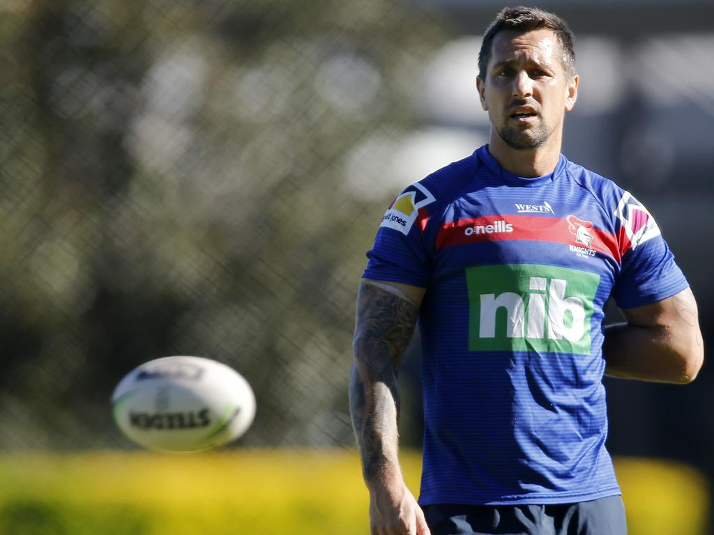 Knights captain Mitchell Pearce during an NRL Knights training session at Balance Field in Newcastle, Tuesday, May 19, 2020. (AAP Image/Darren Pateman) NO ARCHIVING