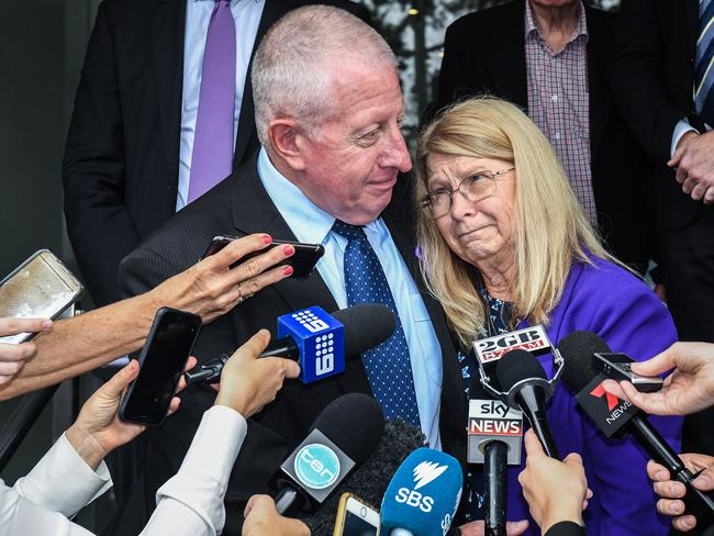 Faye Leveson and Mark Leveson at the NSW Coroner's Court in 2017. Picture: AAP/Brendan Esposito